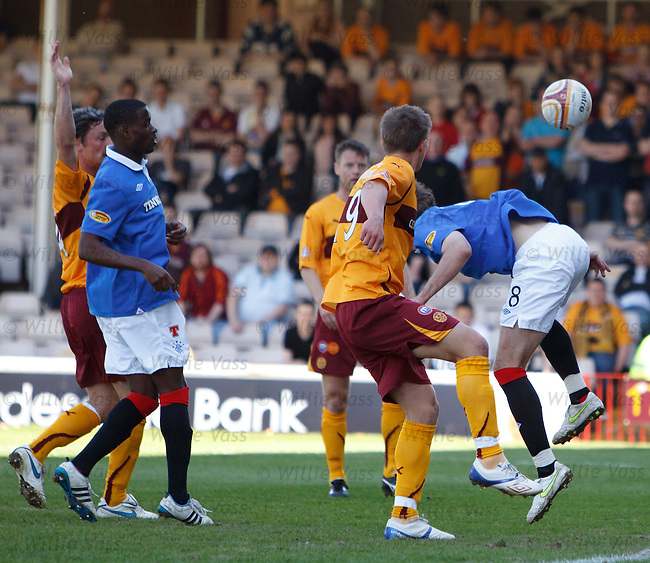 Nikica Jelavic back heads the ball into the net but his goal is chalked off