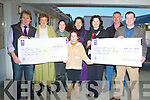 DOUBLE: Double cheques were presented to the Recovery Haven Centre,Haigs Terrace, Tralee on Sunday by Noel Hartnett of EUR12,435 the monies was raised by a dance in the Earl of Desmond Hotel, and from the Kilflynn Cancer Support Group of EUR,3,700 which the money was raise through a night of Table Quizes. L-r: Noel Hartnett, Marian Barnes, Sarah,Amy and Sheila Hartnett, Mary Shanahan, Neilus Lenihan and John O'Flaherty(Kilflynn cancer support group). ................................. ....