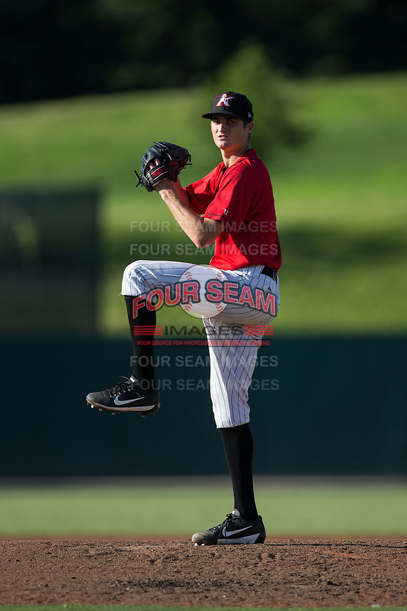 Kannapolis Intimidators starting pitcher Jimmy Lambert (12) in action against the Hagerstown Suns at Kannapolis Intimidators Stadium on June 14, 2017 in Kannapolis, North Carolina.  The Intimidators defeated the Suns 4-1 in game one of a double-header.  (Brian Westerholt/Four Seam Images)