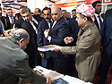 Iraq 2013 .The opening of the Book Fair in Erbil with the President Masoud Barzani : next to the president Fuad Hussein, chief of the presidential staff    .Irak 2013 .Ouverture du salon du livre a Erbil par le président Masoud Barzani: a gauche du president, Fouad Hussein, chef du bureau presidentiel