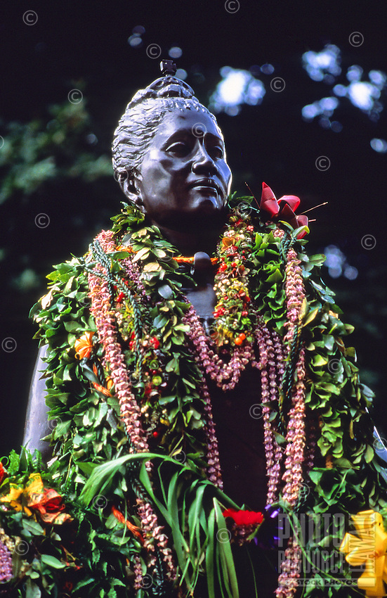 "Leis drape stature of Queen Liliuokalani, observance of 100th anniversary of overthrow of the Hawaiian monarchy/""Onipa'a;"" Iolani Palace, Honolulu, Hawaii.1-17-93"