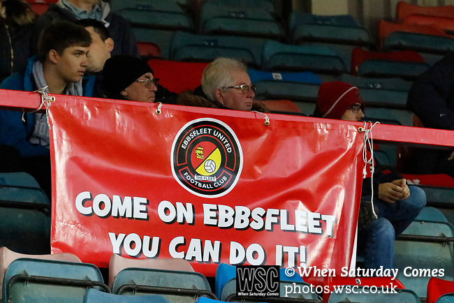 Wrexham 2 Ebbsfleet United 0, 18/11/2017. The Racecourse Ground, National League. An Ebbsfleet banner.  Photo by Paul Thompson.