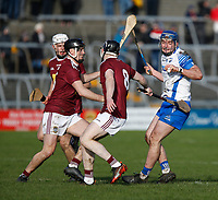 2nd February 2020; TEG Cusack Park, Mullingar, Westmeath, Ireland; Allianz Division 1 Hurling, Westmeath versus Waterford; Patrick Curran (Waterford) holds on to the ball despite pressure from Cormac Boyle, Aonghus Clarke and Adam Ennis (Westmeath)
