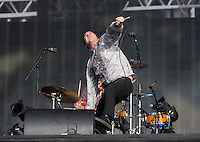 Frontman Samuel T Herring of Future Islands performs with the band during British Summertime Music Festival at Hyde Park, London, England on 18 June 2015. Photo by Andy Rowland.