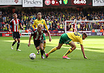 Mark Duffy of Sheffield Utd in action with Marco Stiepermann of Norwich City during the Championship match at Bramall Lane Stadium, Sheffield. Picture date 16th September 2017. Picture credit should read: Jamie Tyerman/Sportimage