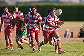 Augustine Pulu gets the ball away to the backline from broken play. Counties Manukau Premier Club Rugby game bewtween Waiuk & Karaka played at Waiuku on Saturday April 11th, 2010..Karaka won the game 24 - 22 after leading 21 - 9 at halftime.