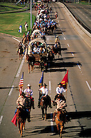 trailriders on Memorial Drive on way to Houston Livestock Show & Rodeo. Houston Texas United States.
