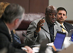 Nevada Sen. Kelvin Atkinson, D-Las Vegas, debates a move to raise the state minimum wage during a hearing at the Legislative Building in Carson City, Nev., on Friday, March 20, 2015.  <br /> Photo by Cathleen Allison