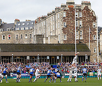 Photo: Richard Lane/Richard Lane Photography. Bath Rugby v Leinster. Heineken Cup. 11/12/2011. A lineout at the Rec,