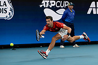 11th January 2020; Sydney Olympic Park Tennis Centre, Sydney, New South Wales, Australia; ATP Cup Australia, Sydney, Day 9; Serbia versus Russia;  Novak Djokovic versus Daniil Medvedev; Novak Djokovic of Serbia prepares to hits a forehand to Daniil Medvedev of Russia but loses the grip on his racquet - Editorial Use