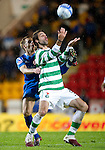 St Johnstone v Celtic..27.10.10  .Georgios Samaras is tackled by Alan Maybury.Picture by Graeme Hart..Copyright Perthshire Picture Agency.Tel: 01738 623350  Mobile: 07990 594431