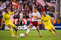 Connor Lade (16) of the New York Red Bulls. The New York Red Bulls defeated the Columbus Crew 3-1 during a Major League Soccer (MLS) match at Red Bull Arena in Harrison, NJ, on September 15, 2012.