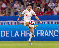 LYON,  - JULY 2: Lucy Bronze #2 controls the ball during a game between England and USWNT at Stade de Lyon on July 2, 2019 in Lyon, France.
