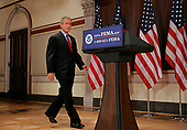 United States President George W Bush approaches the lectern to speak in the Old Executive Office Building 8 September 2005 in Washington, DC.  Bush spoke directly to the victims of Hurricane Katrina about current relief efforts.<br /> Credit: Brendan Smialowski / Pool via CNP