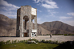 12 June 2013, Urrow Village, Bazarak District, Panjshir Province,  Afghanistan.   The monument at the grave of famed Afghan freedom fighter Ahmad Shah Massoud on a hill in the Panjshir Valley.  Picture by Graham Crouch/World Bank