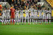 3rd November 2017, Molineux, Wolverhampton, England; EFL Championship football, Wolverhampton Wanderers versus Fulham; Fulham team  line up for rememberance day honour
