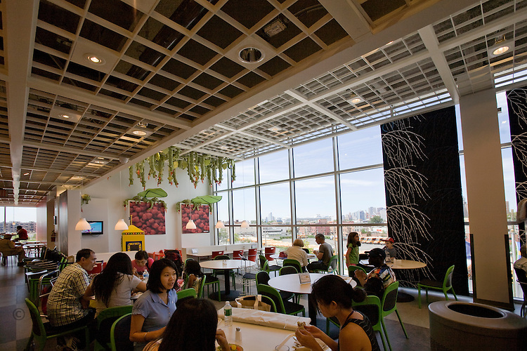 Inside the new Ikea restaurant with a view of Red Hook, the Marine Terminal, and downtown New York City.