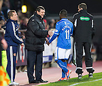 Hearts v St Johnstone....02.11.13     SPFL<br /> All smiles from Tommy Wright as goal scorer Nigel Hasselbaink is subbed<br /> Picture by Graeme Hart.<br /> Copyright Perthshire Picture Agency<br /> Tel: 01738 623350  Mobile: 07990 594431