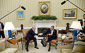 United States President Barack Obama shakes hands with Prime Minister Benjamin Netanyahu of Israel in the Oval Office of the White House November 9, 2015 in Washington, DC. This is President Obama and Israeli Prime Minister Netanyahu first meeting since relations deteriorated over a nuclear deal between world powers and Iran. <br /> Credit: Olivier Douliery / Pool via CNP