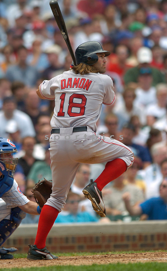 Johnny Damon, of the Boston Red Sox, in action against the Chicago Cubs  , on June 10, 2005...Cubs win 14-6...David Durochiki / SportPics