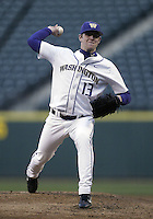 03 April 2009:   Washington starting pitcher Aaron West fires the ball to the plate against Arizona State at Safeco Field in Seattle, WA.  Arizona State won 3-1 over Washington.