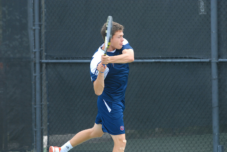 April 25, 2012; San Diego, CA, USA; Loyola Marymount Lions athlete Alex Wilton during the WCC Tennis Championships at the Barnes Tennis Center.