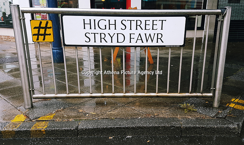 Pictured: The High Street sign in Swansea. Saturday 15 July 2017<br />