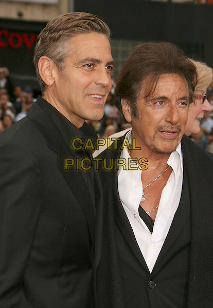 "GEORGE CLOONEY & AL PACINO.""Ocean's Thirteen"" Los Angeles Premiere held at Grauman's Chinese Theatre, Hollywood, California, USA..June 5th, 2007.half length black suit jacket unbuttoned necklace goatee facial hair .CAP/ADM/RE.©Russ Elliot/AdMedia/Capital Pictures"