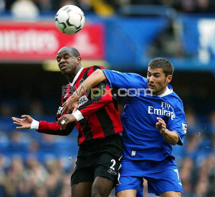 Pix: Rob Matthews/SWpix.com. Soccer. Barclaycard Premiership. Season 2003/2004. Chelsea v Manchester City. 25/10/2003...COPYWRIGHT PICTURE>>SIMON WILKINSON>>01943 608782>>..David Sommeil and Adrain Mutu compete for the ball...