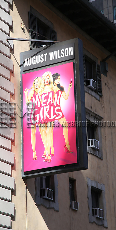 Theatre Marquee unveiling for 'Mean Girls' featuring a book by Tina Fey based on her screenplay for the film. The music is by  Jeff Richmond, and the lyrics are by Nell Benjamin. Direction and choreography by Casey Nicholaw. August Wilson Theatre on October 2, 2017 in New York City.