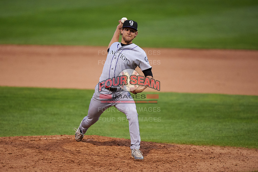 Grand Junction Rockies relief pitcher Blair Calvo (16) during a Pioneer League game against the Billings Mustangs at Dehler Park on August 14, 2019 in Billings, Montana. Grand Junction defeated Billings 8-5. (Zachary Lucy/Four Seam Images)