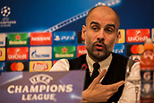 31st October 2017, San Paolo Stadium, Naples, Italy; UEFA Champions League; Pre Match Press Conference; SSC Napoli versus Manchester City; Head Coach Josep Guardiola of Manchester City talks during the pre match press conference