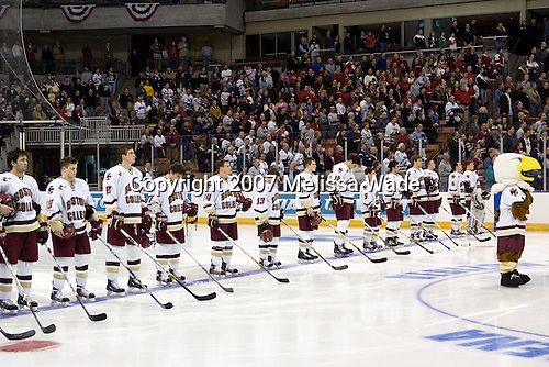 The Boston College Eagles defeated the St. Lawrence University Saints 4-1 on Saturday, March 24, 2007, in their semi-final matchup in the Northeast Regional at the Verizon Wireless Arena in Manchester, NH.