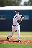 New York Yankees pitcher Albert Abreu (22) delivers a pitch during an Instructional League game against the Baltimore Orioles on September 23, 2017 at the Yankees Minor League Complex in Tampa, Florida.  (Mike Janes/Four Seam Images)