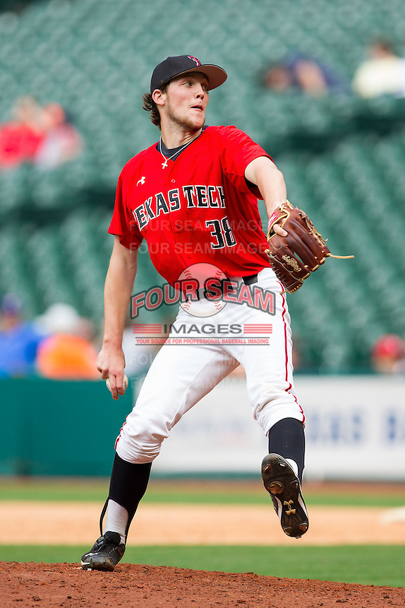 Texas Tech Red Raiders relief pitcher Johnathon Tripp #38 delivers a pitch to the plate against the Sam Houston State Bearkats at Minute Maid Park on March 1, 2014 in Houston, Texas.  The Bearkats defeated the Red Raiders 10-6.  (Brian Westerholt/Four Seam Images)