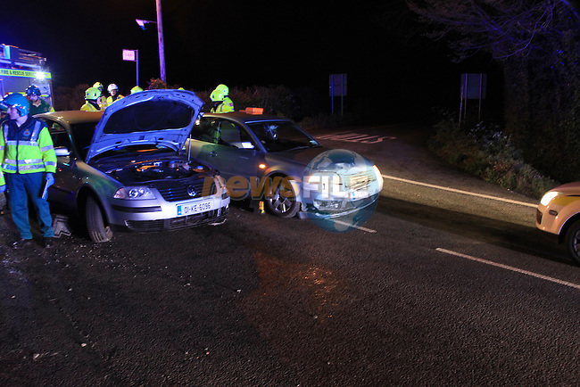 The scene of a two vehicle RTC at barn hill cross outside Termonfeckin, The very slow impact damaged the wing of each car but failed to break the headlight glass. Up to five occupants were removed by ambulance to Our lady of Lourdes hospital, with Fire Assets from Drogheda and Dunleer tied up at the scene for over two hours as each casualty was being treated for neck injuries...Picture  www.newsfile.ie..