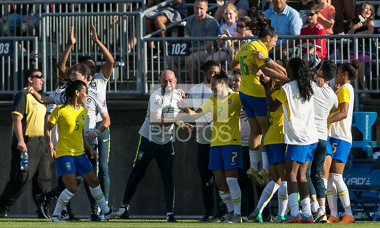 East Hartford, Connecticut - Sunday July 29, 2018:  2018 Tournament of Nations match between the women's national teams of Japan (JPN) and Brazil (BRA). Brazil (yellow/blue) defeated Japan (blue), 2-1, at Pratt & Whitney Stadium at Rentschler Field.<br /> Goal celebration.