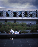 A tourist rests at the Museum of Anthropology Mexico City.  September 2007