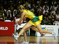 16.11.2007 Silevr Ferns Adine WIlson competes with Australia's Julie Prendergast during the Silver Ferns v Australia Final at the New World Netball World Champs held at Trusts Stadium Auckland New Zealand. Mandatory Photo Credit ©Michael Bradley.