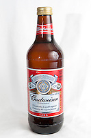 A Budweiser 1.18l beer bottle over a white background