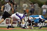 San Francisco Dragons vs Los Angeles Riptide.Lebard Stadium, Orange Coast College,Huntington Beach, California.Anthony Kelly (#34) and Greg Gurenlian (# 32).506P1101.JPG.CREDIT: Dirk Dewachter