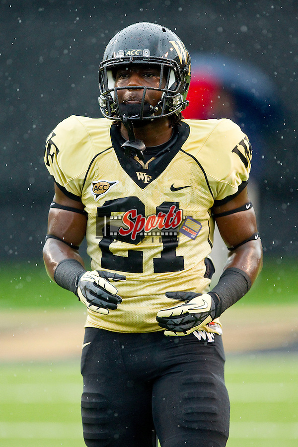 Deandre Martin (21) of the Wake Forest Demon Deacons prior to the game against the Duke Blue Devils at BB&T Field on September 29, 2012 in Winston-Salem, North Carolina.  The Blue Devils defeated the Demon Deacons 34-27.  (Brian Westerholt/Sports On Film)