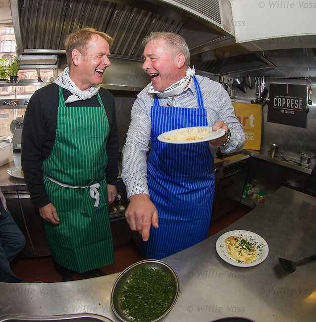 Murdo MacLeod and Ally McCoist at Don Costanzo's restaurant as Spohrt training have an Old Firm preview