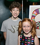 """Finn Faulconer and Charlotte Wise attend the Birthday Party Photo Call for the Wheelhouse Theater Company production of Kurt Vonnegut's """"Happy Birthday, Wanda June""""  on October 3, 2018 at Bond 45 Times Square in New York City."""