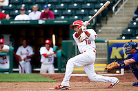 Alex Castellanos (18) of the Springfield Cardinals follows through on his swing that sent one of two balls over the wall during a game against the Midland RockHounds on April 19, 2011 at Hammons Field in Springfield, Missouri.  Photo By David Welker/Four Seam Images