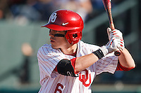 Eric Ross (6) batting during the NCAA matchup between the University of Arkansas-Little Rock Trojans and the University of Oklahoma Sooners at L. Dale Mitchell Park in Norman, Oklahoma; March 11th, 2011.  Oklahoma won 11-3.  Photo by William Purnell/Four Seam Images
