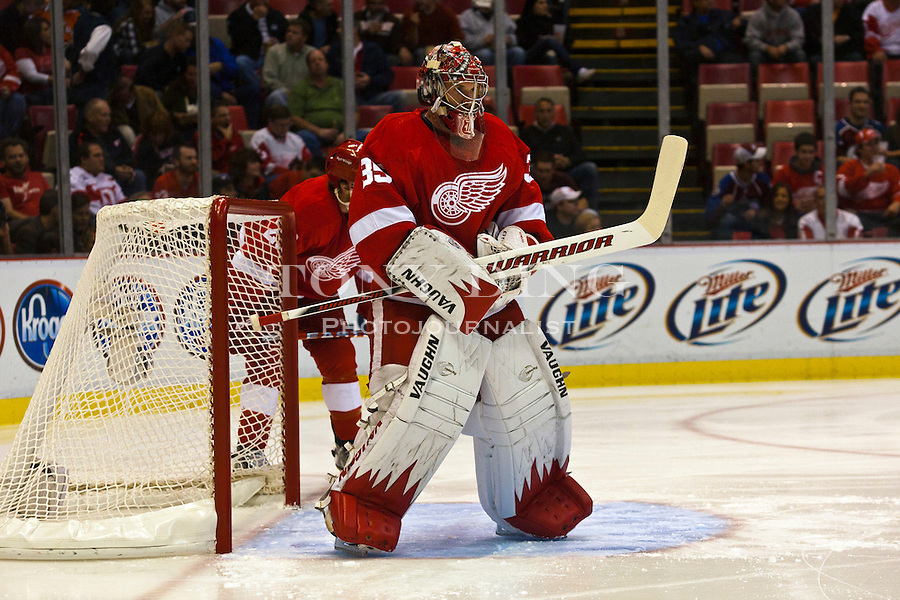 12 October 2010: Detroit Red Wings goalie Jimmy Howard (35) stands before his goal in the first period of the Colorado Avalanche at Detroit Red Wings NHL hockey game, at Joe Louis Arena, in Detroit, MI...***** Editorial Use Only *****