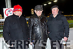 Thomas McCarthy Jr, Thomas McCarthy, Snr, and William O'Shea from Castleisland and Milltown enjoying a night at the dogs  at the Kingdom Greyhound Stadium on Friday