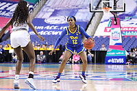 GREENSBORO, NC - MARCH 04: Gabbie Green #12 of the University of Pittsburgh dribbles the ball during a game between Pitt and Notre Dame at Greensboro Coliseum on March 04, 2020 in Greensboro, North Carolina.
