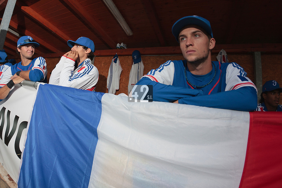 17 August 2010: Quentin Pourcel of Team France is seen in the dugout during the Czech Republic 4-3 win over France, at the 2010 European Championship, under 21, in Brno, Czech Republic.